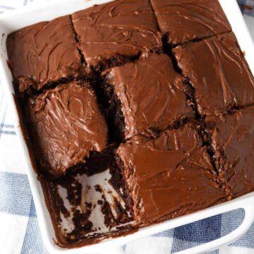 Chocolate Depression Cake - Wacky Cake in a white dish