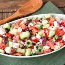 Cucumber Tomato Feta Salad in a white bowl