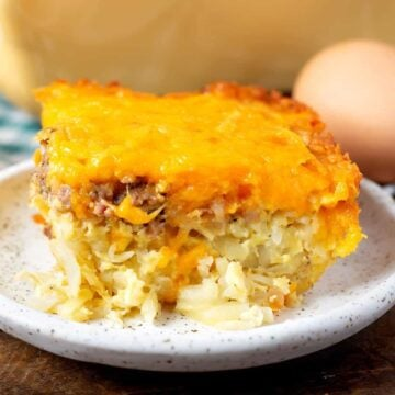 close up of Hash Brown Egg Casserole on a white plate