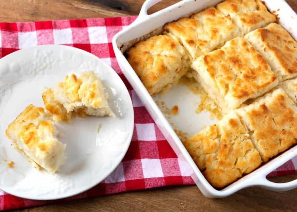 Butter Dip Biscuits in a white baking dish