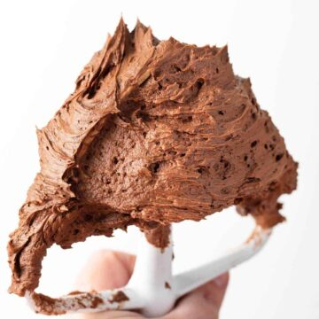 Chocolate Buttercream Frosting on a white paddle