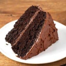 a slice Chocolate Mayonnaise Cake on a white plate
