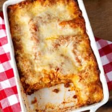 Classic Homemade Lasagna in a white baking dish