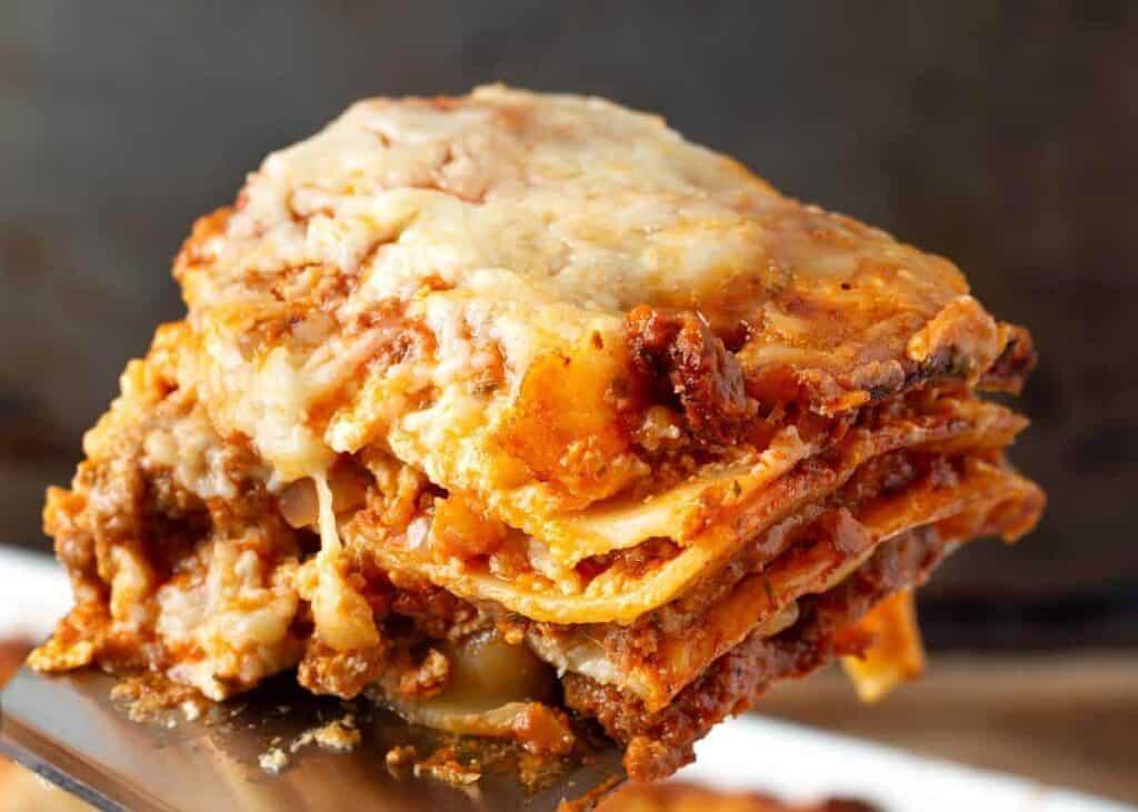 Classic Homemade Lasagna closeup