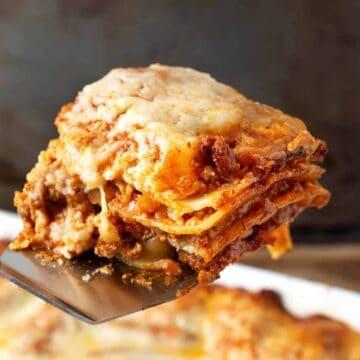 Lasagna serving close up