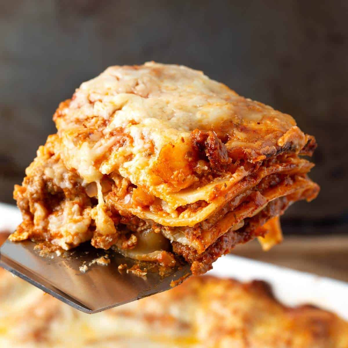 Lasagna serving close up