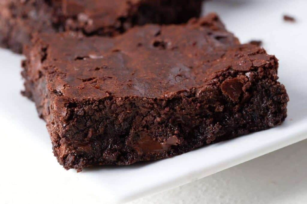 Chocolate Brownies on a white plate