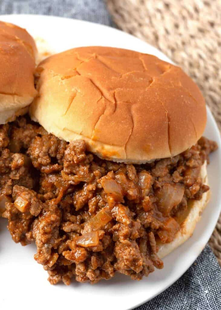 Sloppy Joes on a white plate