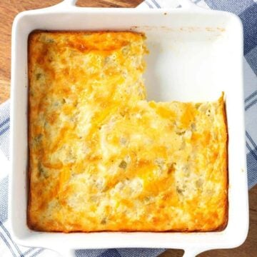 Green Chile Egg Casserole in white baking dish