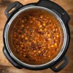 Hamburger Baked Beans in the pot from above