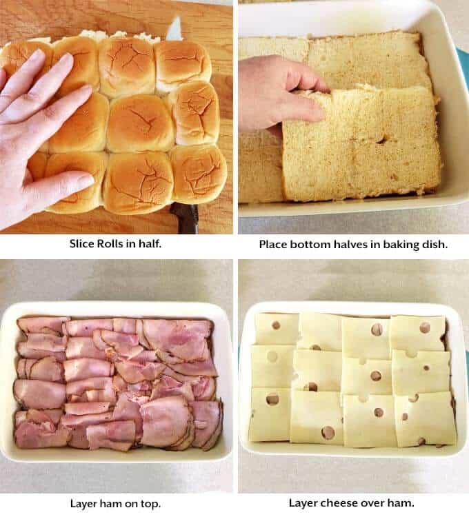 bottom halves of rolls in pan, then ham, then cheese
