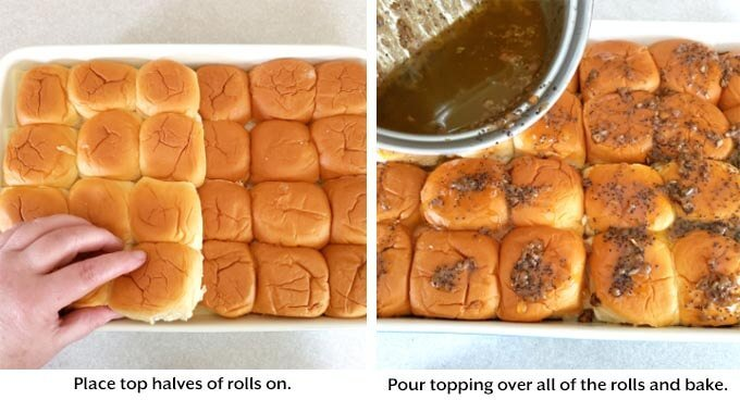 tops of rolls go on cheese, then pour topping over and bake