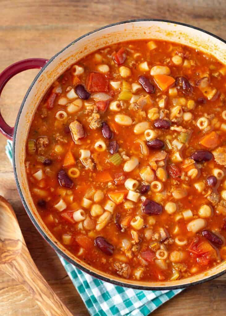 Pasta e Fagioli in a red pot from above