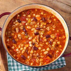 Pasta e Fagioli Soup in a dutch oven from above