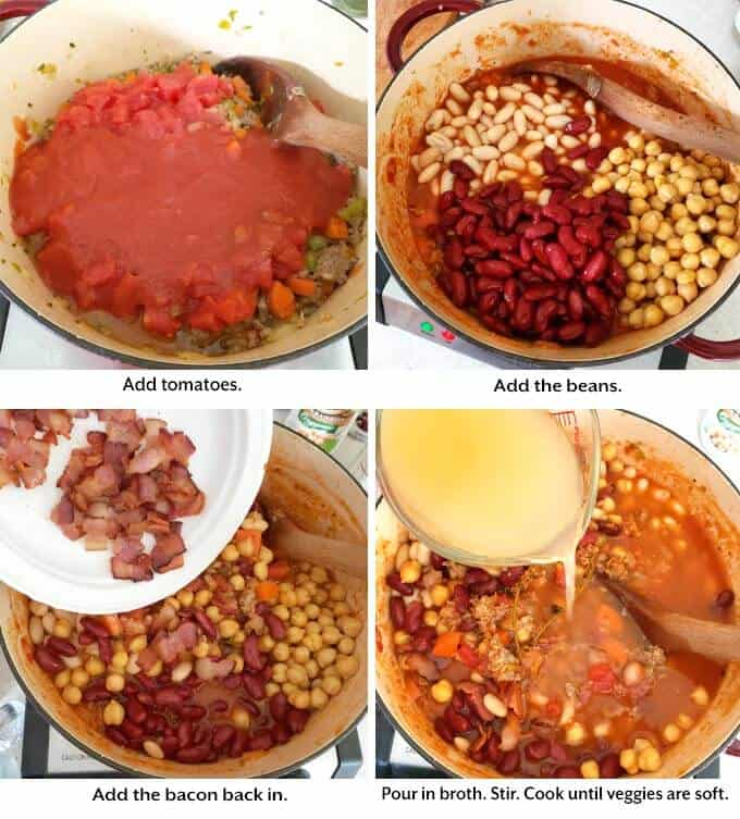 add tomatoes, beans, bacon, broth. Cook until veggies are tender