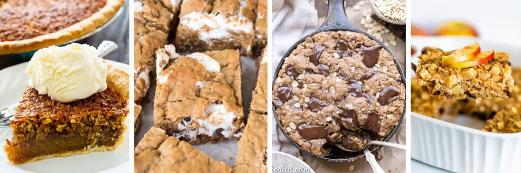 4 image collage Oatmeal Pie, Oatmeal Cookie S'mores Bars, Oatmeal Chocolate Chip Skillet Cookie, Apple Cinnamon Baked Oatmeal