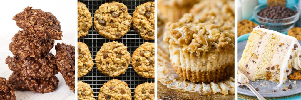 4 image collage - Oatmeal Chocolate Peanut Butter No Bake Cookies, Healthy Oatmeal Raisin Cookies, Mini Dutch Apple Cheesecake Recipe, Oatmeal Chocolate Chip Cookie Ice Cream Cake