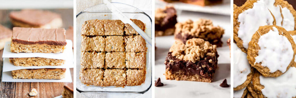 4 image collage - Peanut Butter Oatmeal Bars, Chai Spiced Oatmeal Raisin Bars, Oatmeal Fudge Bars, Iced Oatmeal Cookies