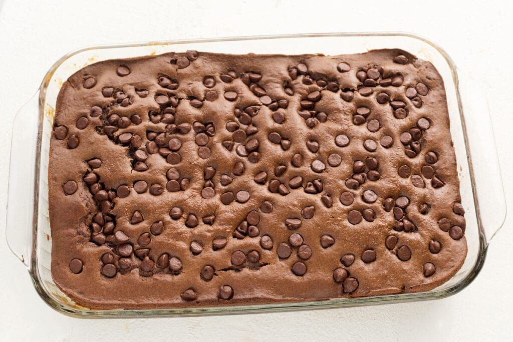 Chocolate Peanut Butter Cake whole, in baking dish from above
