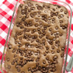 Chocolate Peanut Butter Cake in a baking dish