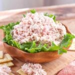 Ham Salad in a wood bowl on lettuce