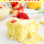 Lemon Strawberry Poke Cake slice on a white plate