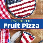 Patriotic Fruit Pizza on a wood background