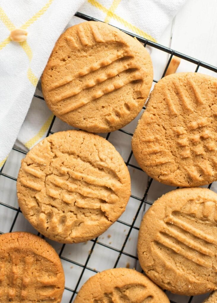 Peanut Butter Cookies on a cooling rack from above