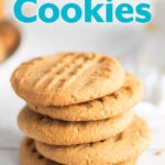 Peanut Butter Cookies in a stack on white background