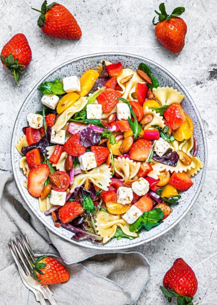 Strawberry Pasta Salad in a grey bowl from above