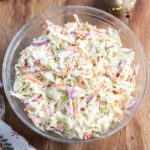 Easy Coleslaw Recipe in a glass bowl