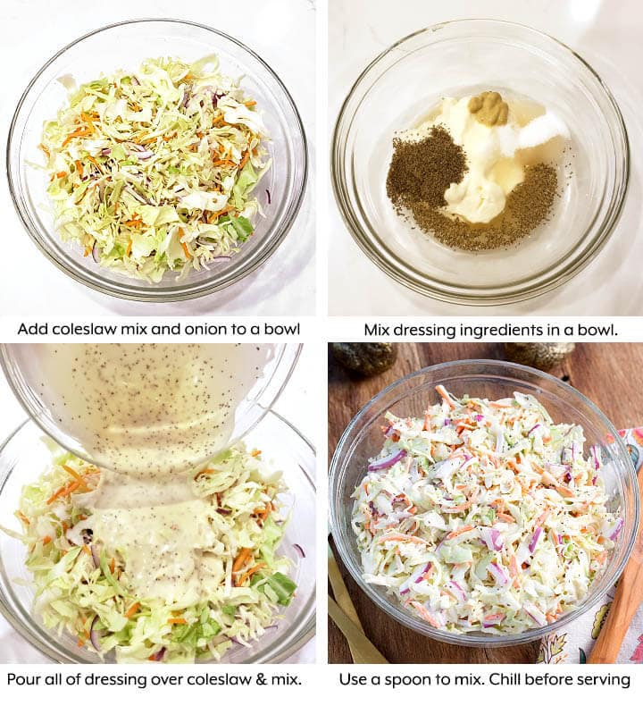 Easy Coleslaw Recipe steps, adding slaw to bowl, mixing dressing, pouring over slaw