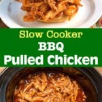 Slow Cooker BBQ Pulled Chicken sandwich on top, bbq pulled chicken on bottom