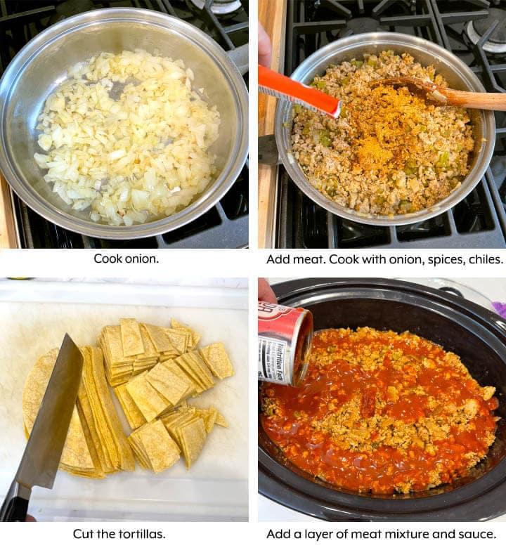 crock pot Enchilada Casserole in process