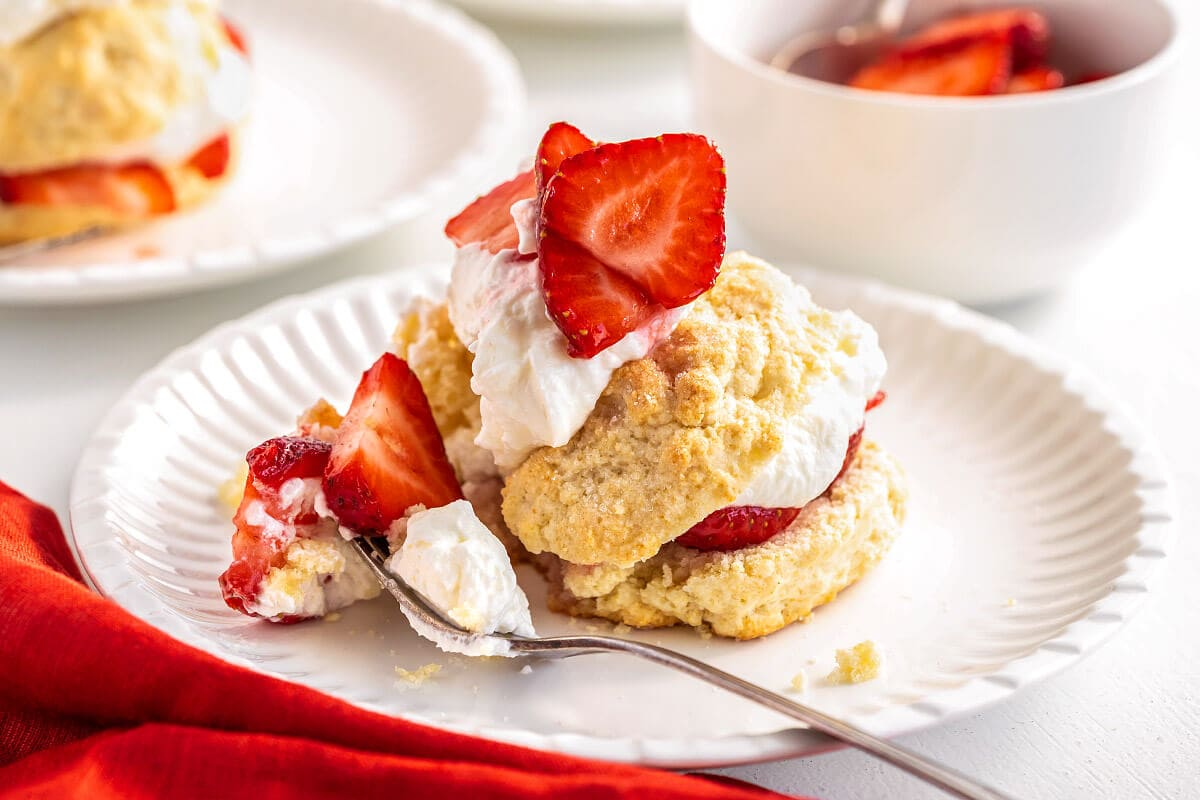 Strawberry Shortcake on a white plate with some on a fork