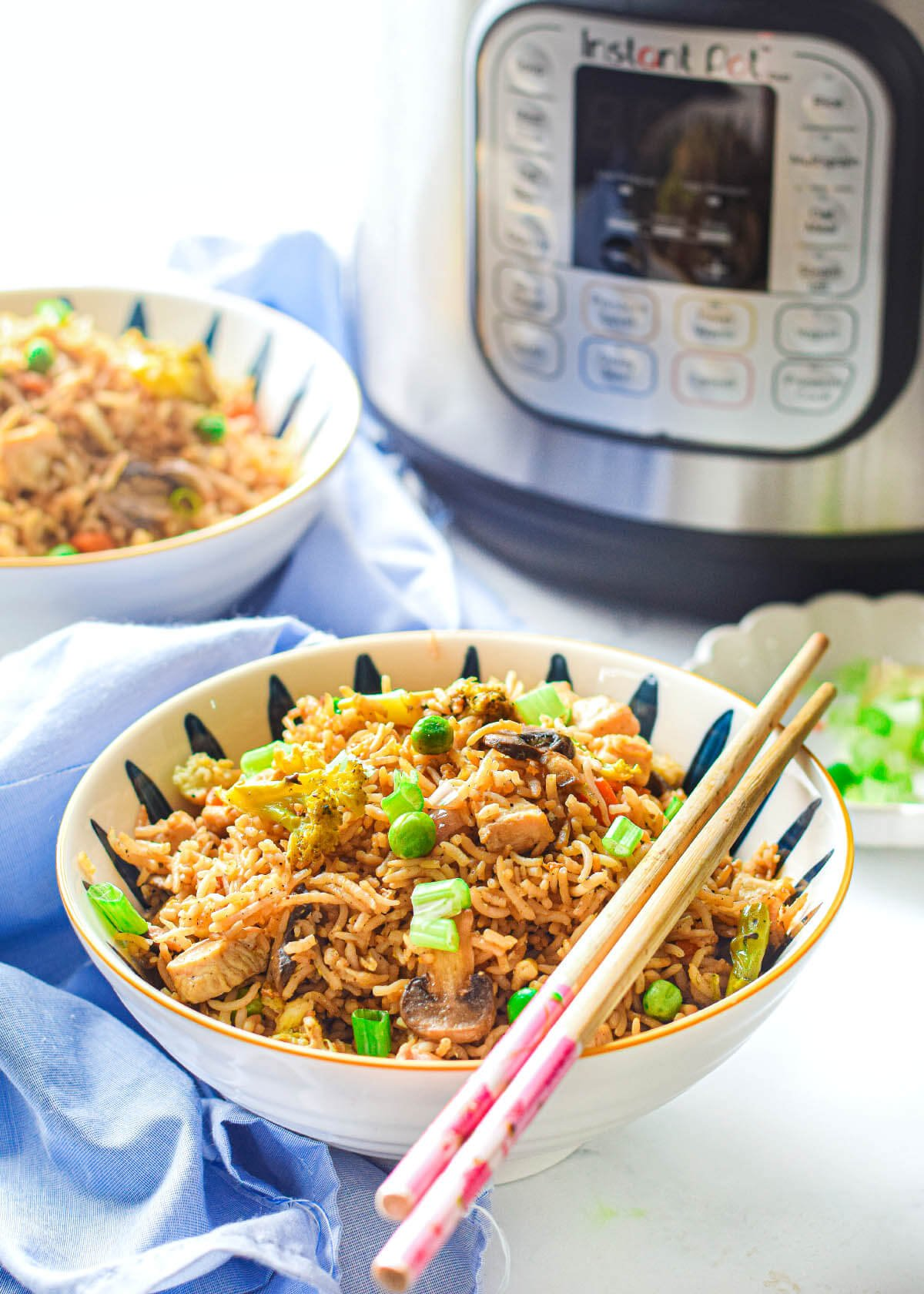 Instant Pot Fried Rice with Chicken in a white bowl in front of an IP