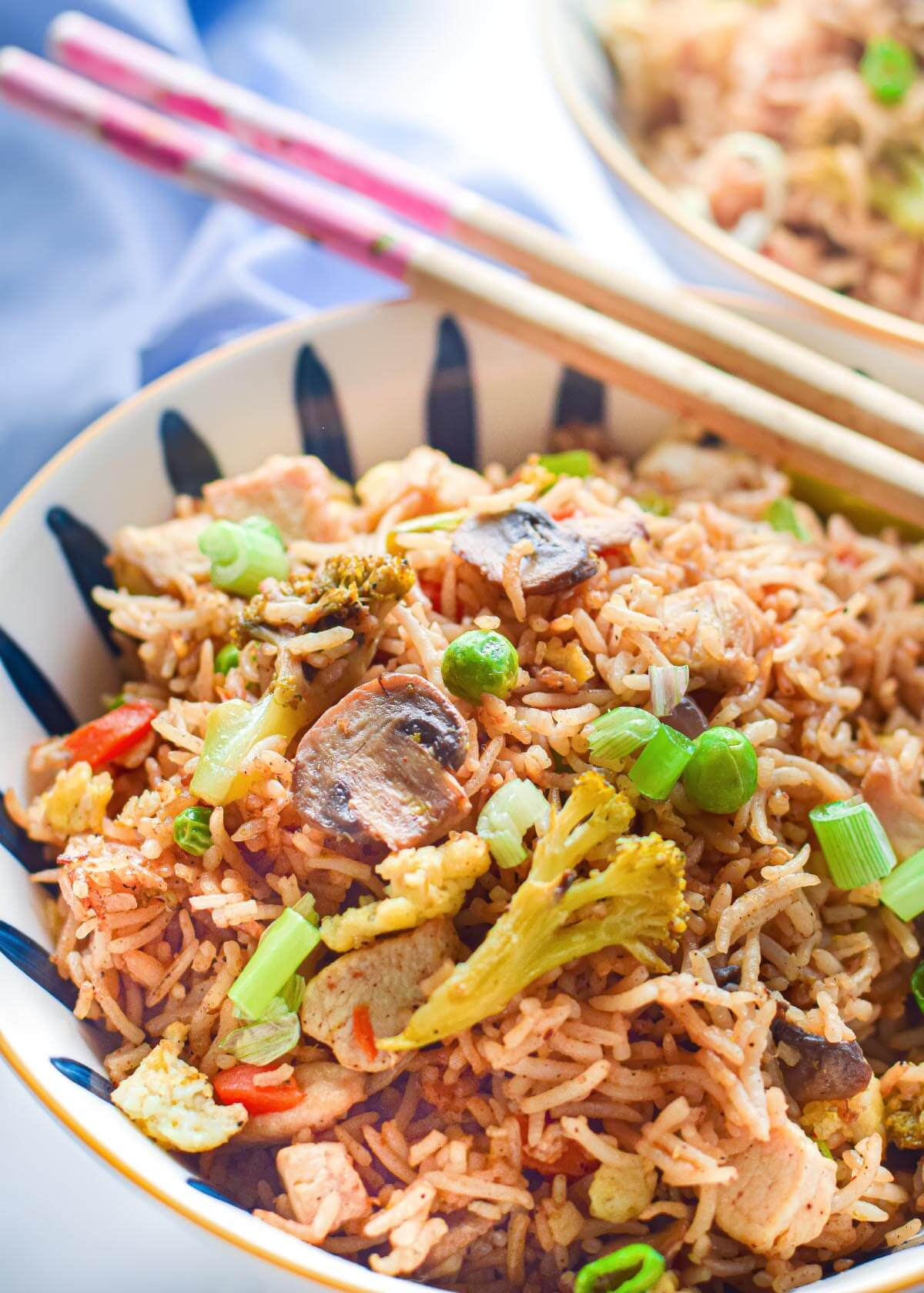 Instant Pot Fried Rice in a white bowl close up