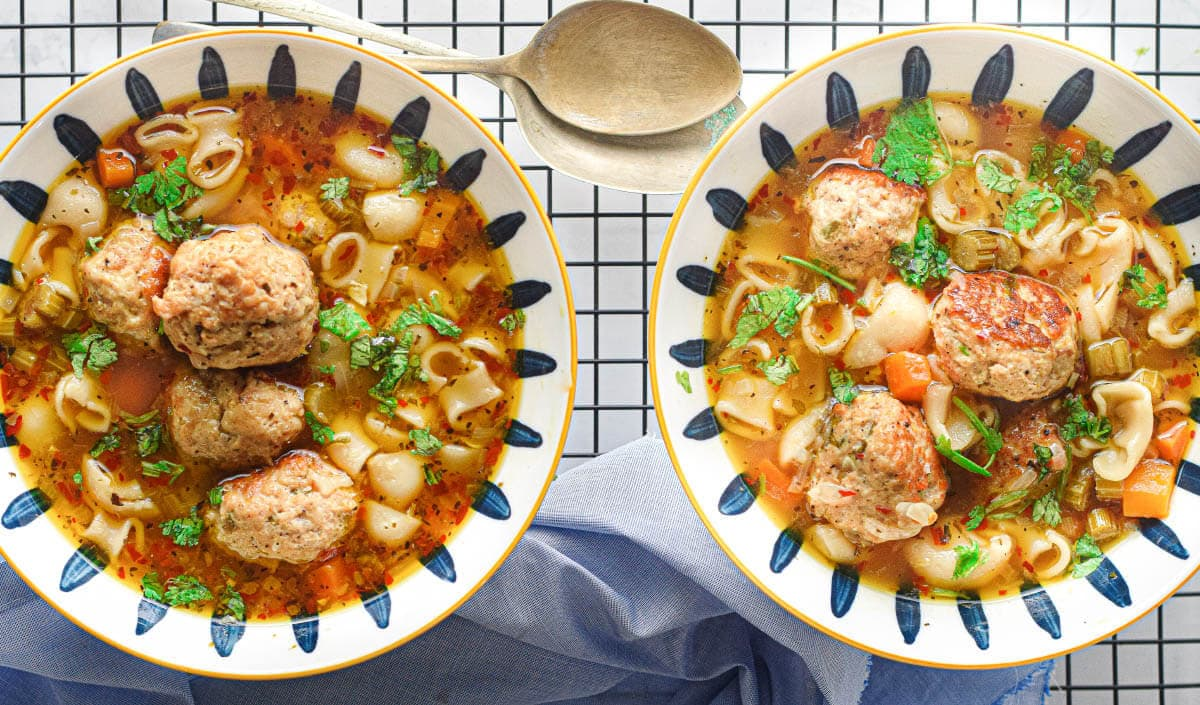 2 bowls of meatball pasta soup