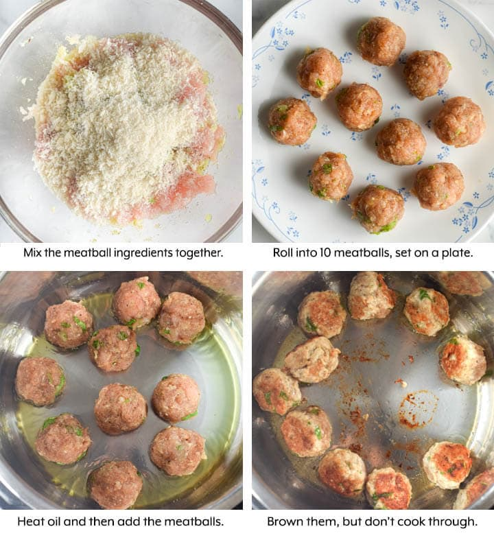 Meatball pasta Soup process cooking
