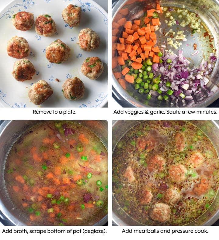 Meatball pasta Soup cooking process