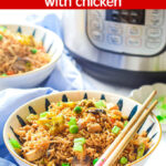 Instant Pot Fried Rice in front of pot in a bowl with chopsticks