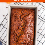 Pumpkin Chocolate Chip Bread in a loaf pan