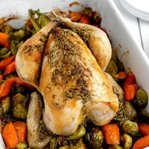 roasted chicken in white pan with vegetables