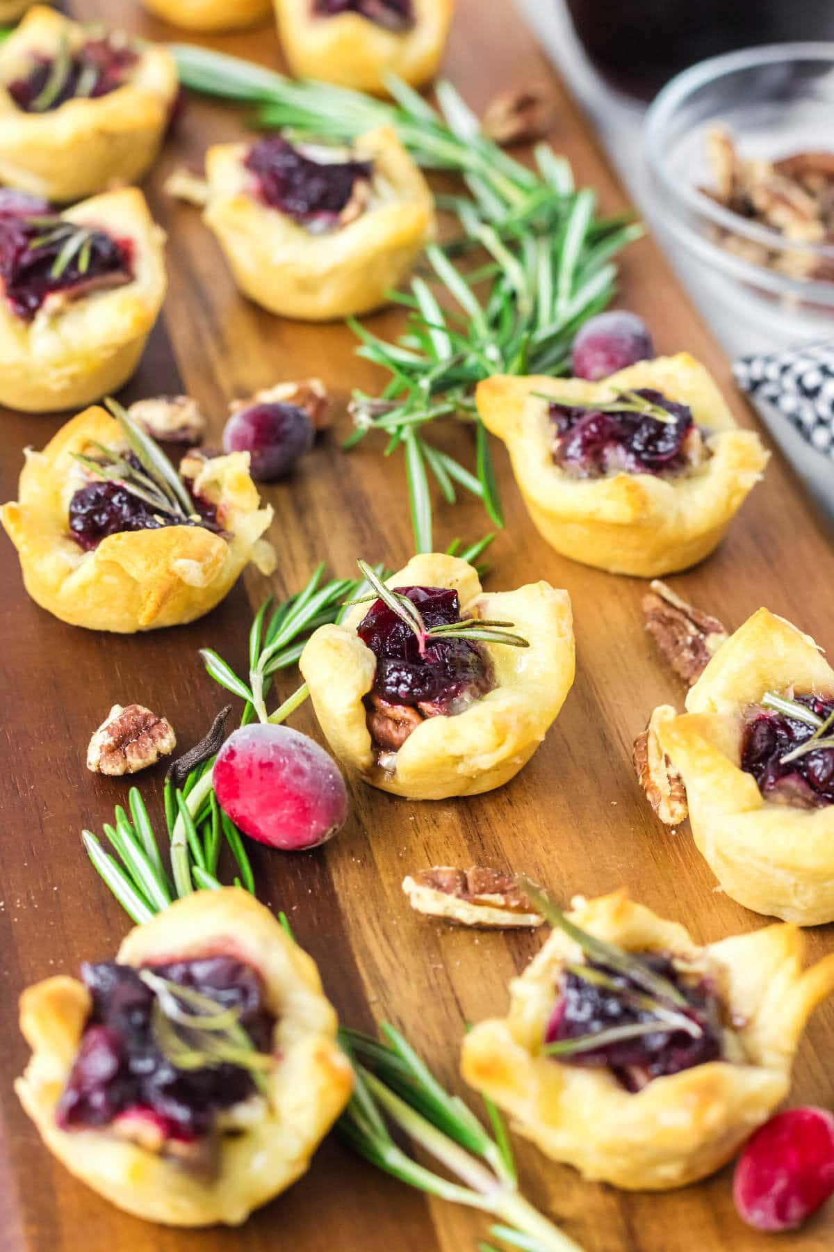 Cranberry Brie Bites on a board