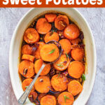 Maple Candied Sweet Potatoes in oval baking dish