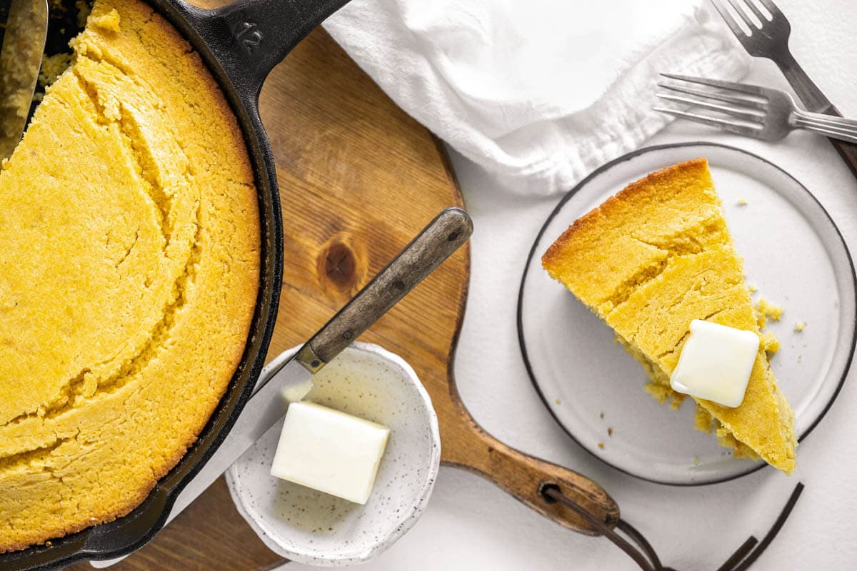 Cornbread on a plate and in skillet