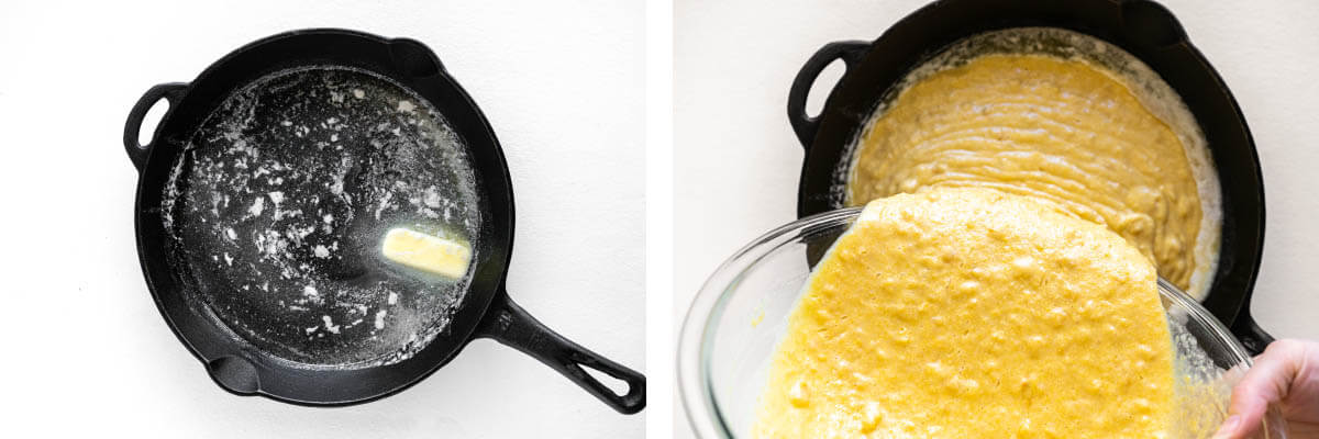 adding the batter to a skillet with butter